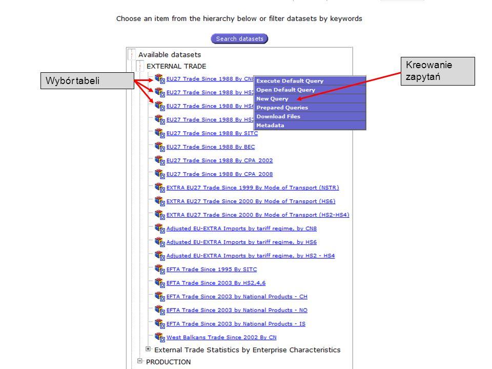 Kreowanie zapytań Wybór tabeli 19-05-2011