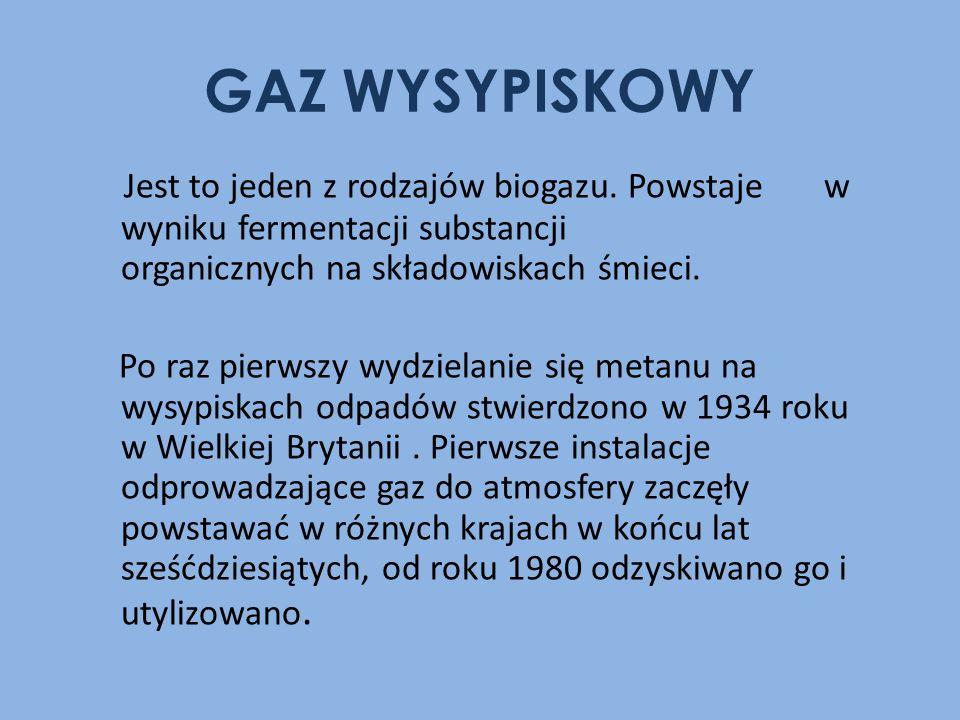 GAZ WYSYPISKOWY Jest to jeden z rodzajów biogazu. Powstaje w wyniku fermentacji substancji organicznych na składowiskach śmieci.