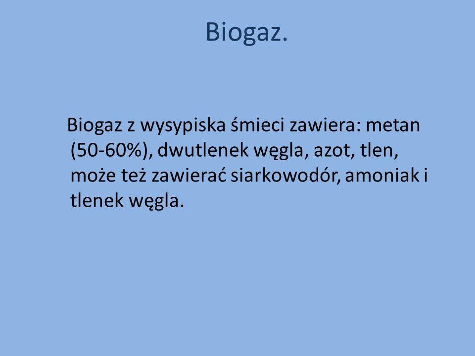 Biogaz.Biogaz z wysypiska śmieci zawiera: metan (50-60%), dwutlenek węgla, azot, tlen, może też zawierać siarkowodór, amoniak i tlenek węgla.
