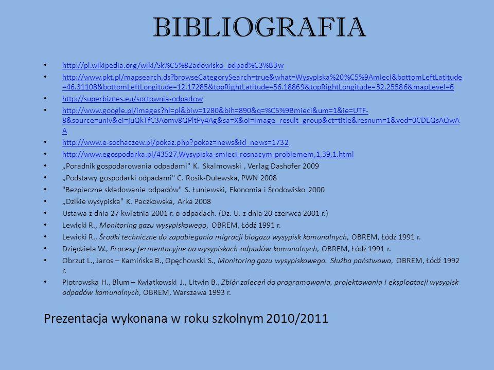 BIBLIOGRAFIA Prezentacja wykonana w roku szkolnym 2010/2011