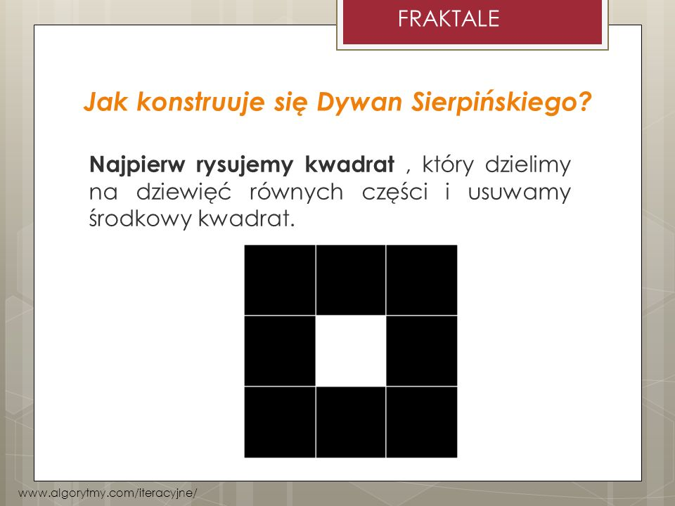 Jak konstruuje się Dywan Sierpińskiego