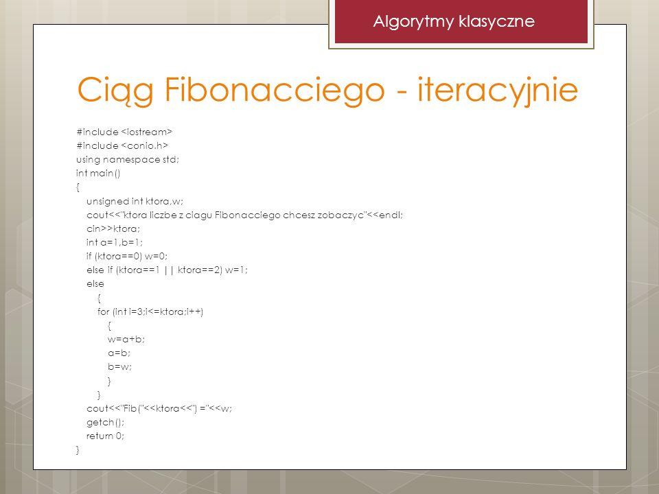 Ciąg Fibonacciego - iteracyjnie