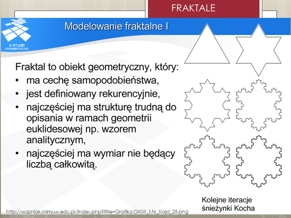 FRAKTALE http://wazniak.mimuw.edu.pl/index.php title=Grafika:GKIW_M6_Slajd_28.png