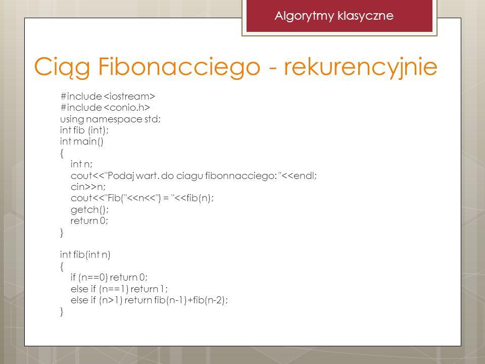 Ciąg Fibonacciego - rekurencyjnie