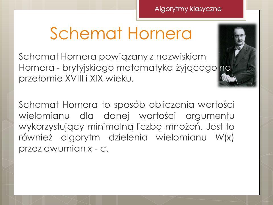 Algorytmy klasyczne Schemat Hornera.