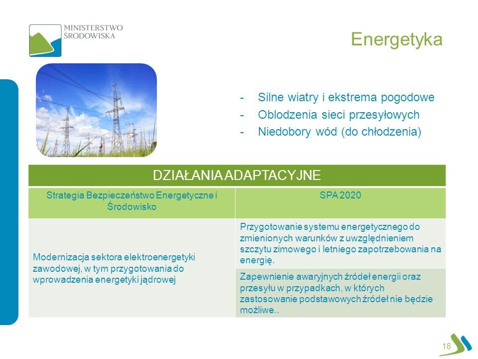 Energetyka DZIAŁANIA ADAPTACYJNE Silne wiatry i ekstrema pogodowe