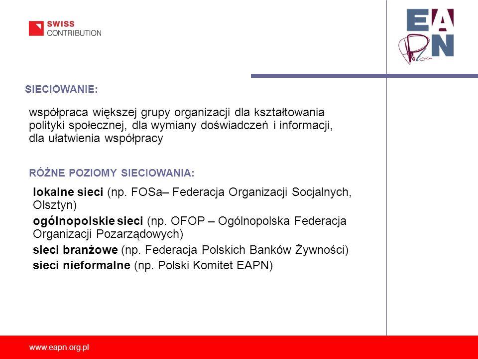 lokalne sieci (np. FOSa– Federacja Organizacji Socjalnych, Olsztyn)