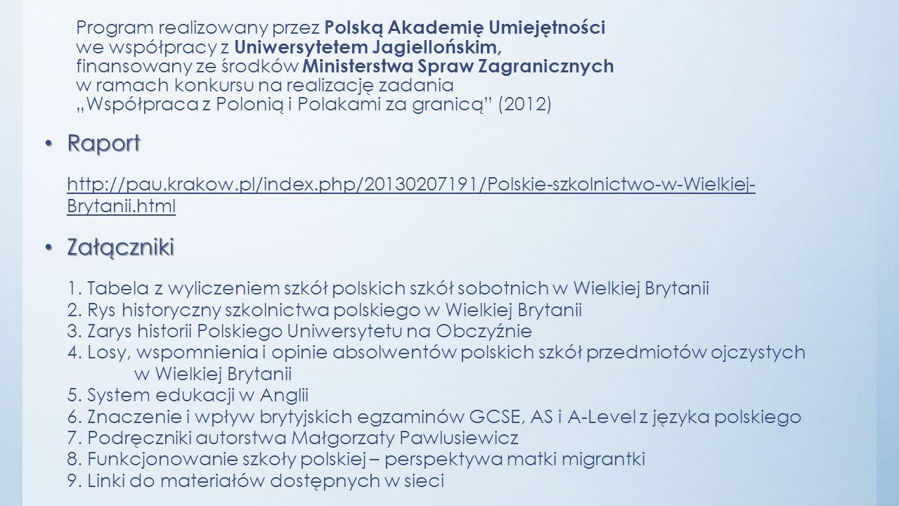 """Program realizowany przez Polską Akademię Umiejętności we współpracy z Uniwersytetem Jagiellońskim, finansowany ze środków Ministerstwa Spraw Zagranicznych w ramach konkursu na realizację zadania """"Współpraca z Polonią i Polakami za granicą (2012)"""