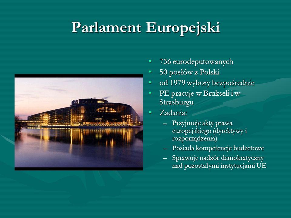 Parlament Europejski 736 eurodeputowanych 50 posłów z Polski