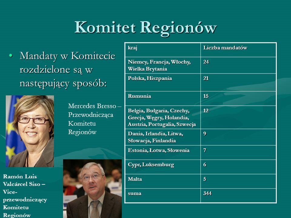 Komitet Regionów kraj. Liczba mandatów. Niemcy, Francja, Włochy, Wielka Brytania. 24. Polska, Hiszpania.