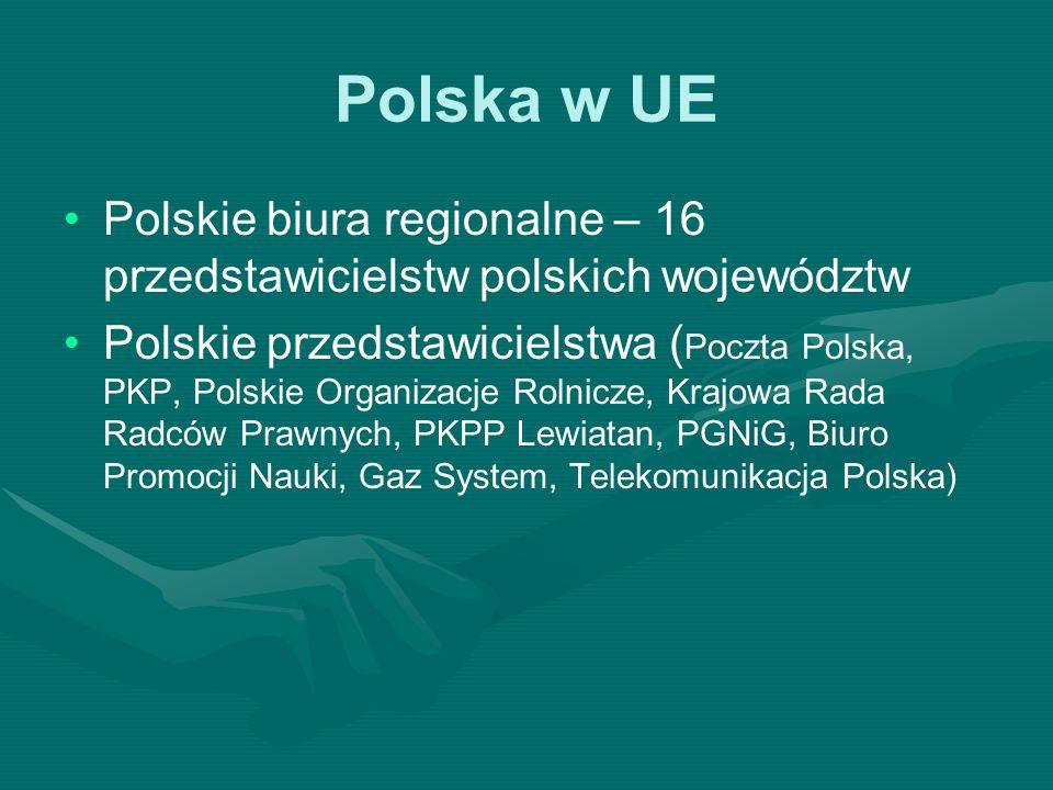 Polska w UE Polskie biura regionalne – 16 przedstawicielstw polskich województw.