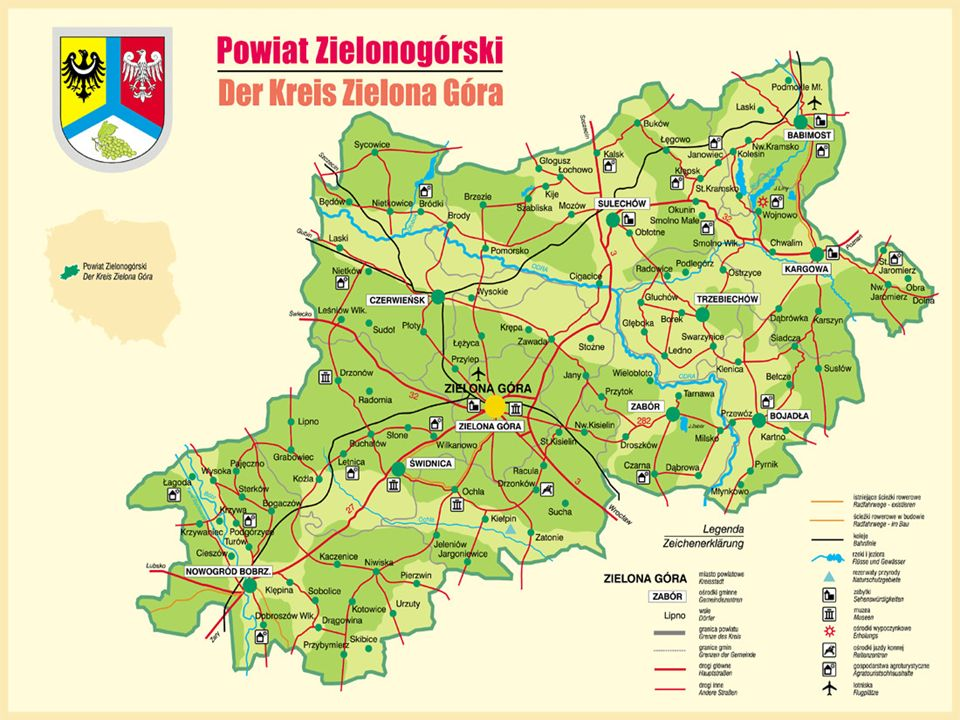 Reforma ta tworzyła również Powiat Zielonogórski, w którego centrum znajdowała się Zielona Góra.