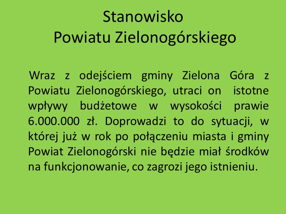 Stanowisko Powiatu Zielonogórskiego