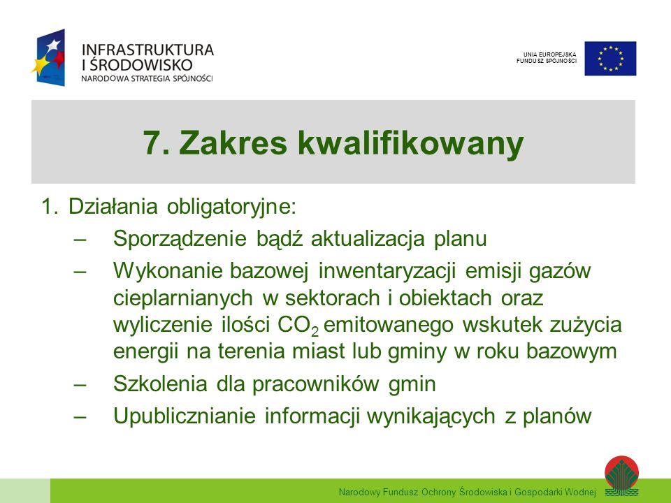 7. Zakres kwalifikowany Działania obligatoryjne: