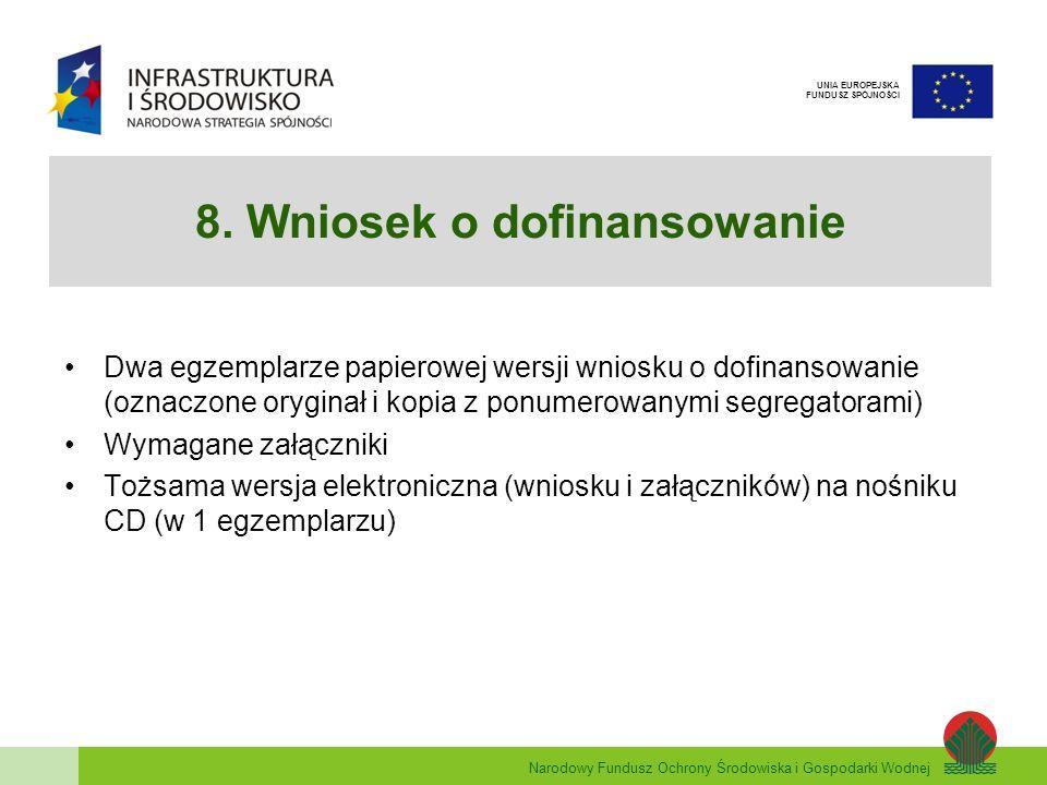 8. Wniosek o dofinansowanie