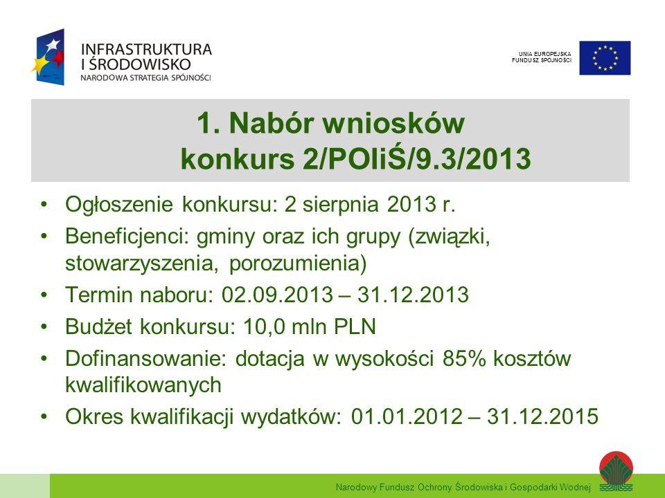 1. Nabór wniosków konkurs 2/POIiŚ/9.3/2013