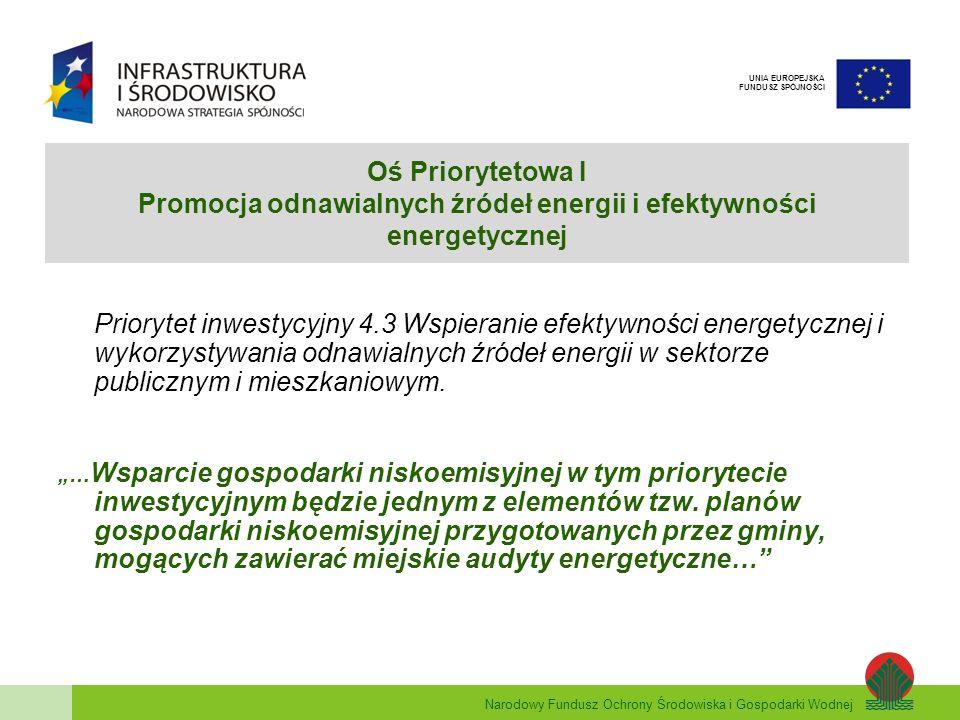 Oś Priorytetowa I Promocja odnawialnych źródeł energii i efektywności energetycznej