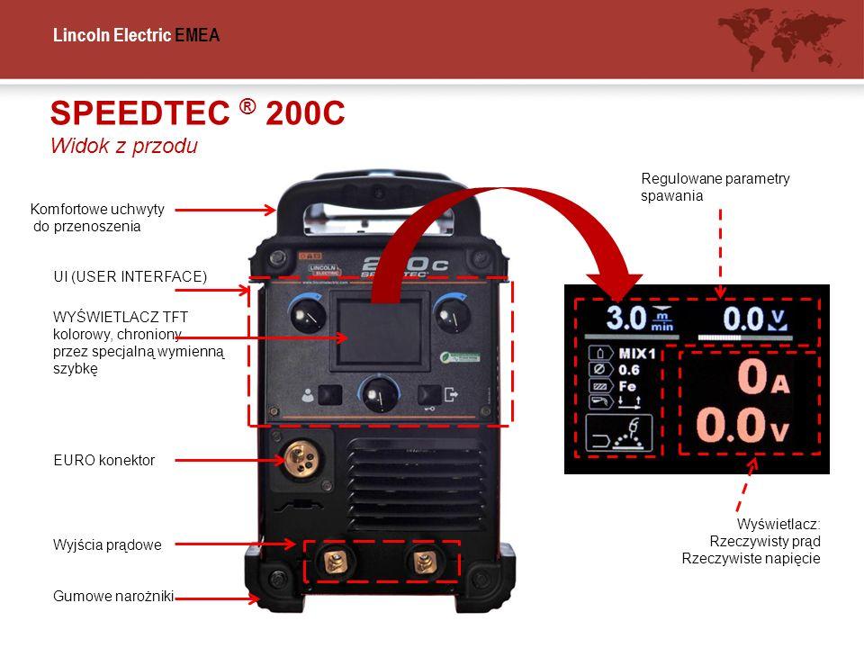 SPEEDTEC ® 200C Widok z przodu Regulowane parametry spawania