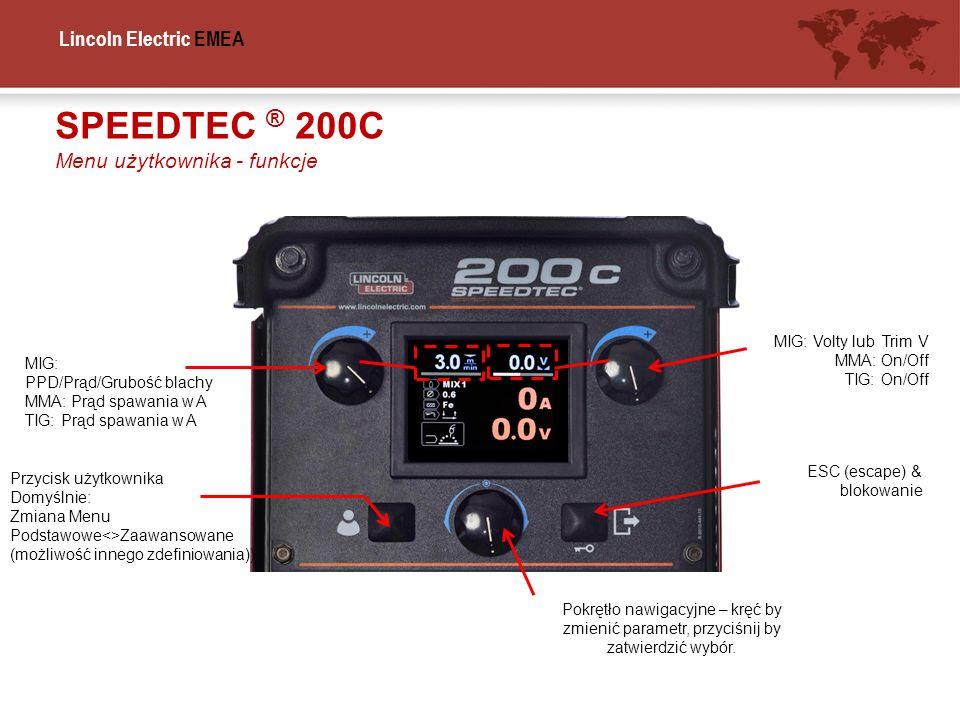 SPEEDTEC ® 200C Menu użytkownika - funkcje MIG: Volty lub Trim V