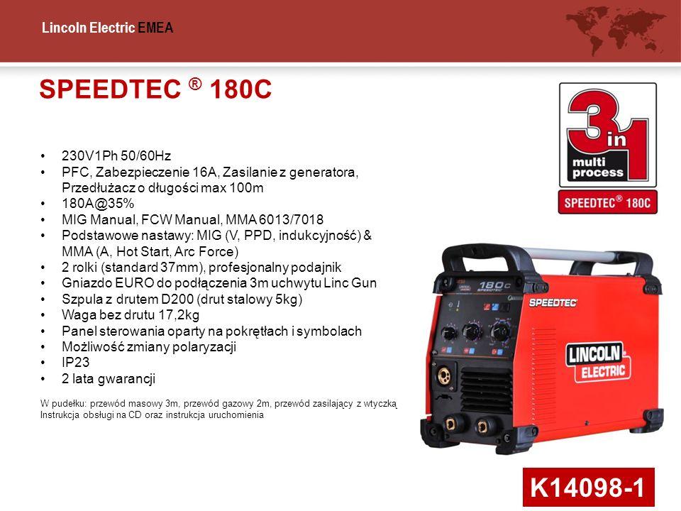 SPEEDTEC ® 180C230V1Ph 50/60Hz. PFC, Zabezpieczenie 16A, Zasilanie z generatora, Przedłużacz o długości max 100m.