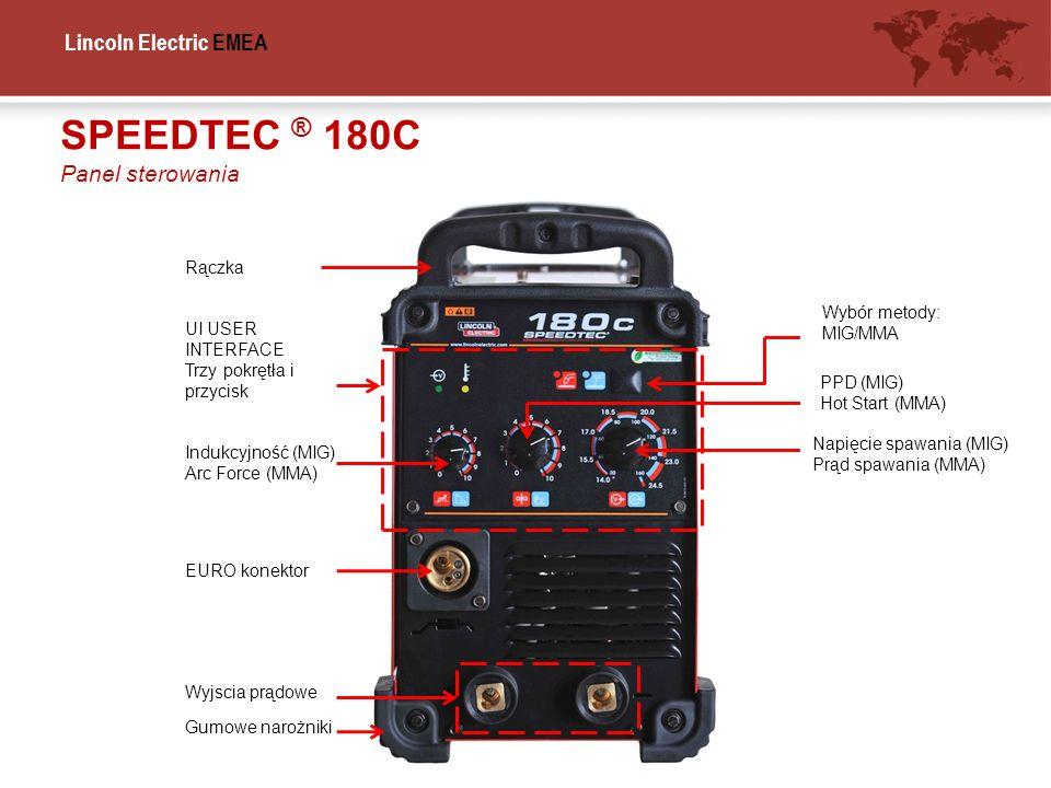 SPEEDTEC ® 180C Panel sterowania Rączka Wybór metody: MIG/MMA