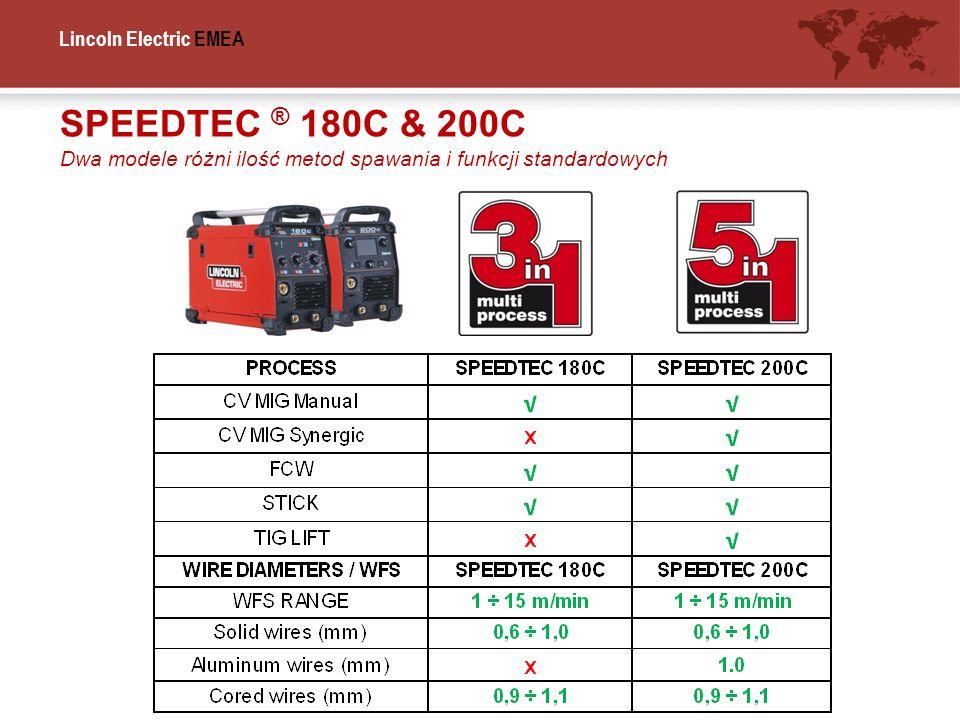 SPEEDTEC ® 180C & 200C Dwa modele różni ilość metod spawania i funkcji standardowych