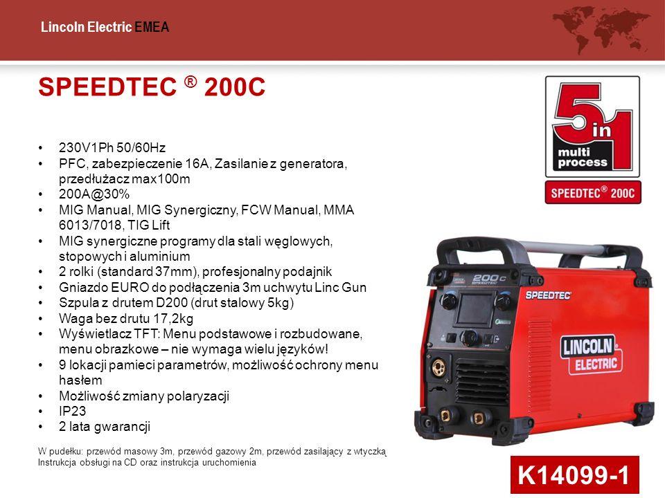 SPEEDTEC ® 200C 230V1Ph 50/60Hz. PFC, zabezpieczenie 16A, Zasilanie z generatora, przedłużacz max100m.