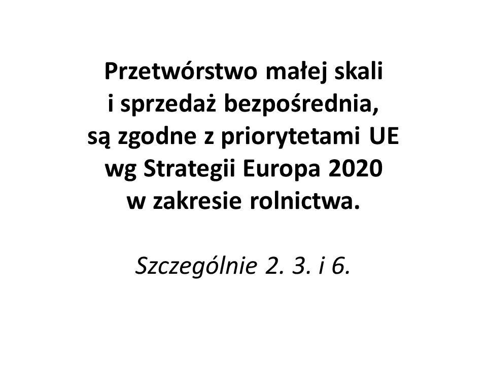 Przetwórstwo małej skali i sprzedaż bezpośrednia, są zgodne z priorytetami UE wg Strategii Europa 2020 w zakresie rolnictwa.