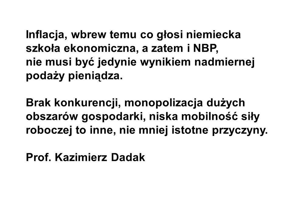 Inflacja, wbrew temu co głosi niemiecka szkoła ekonomiczna, a zatem i NBP,