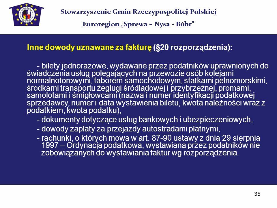 Inne dowody uznawane za fakturę (§20 rozporządzenia):