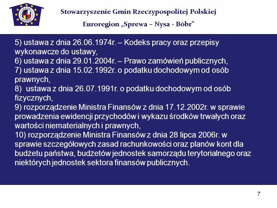 5) ustawa z dnia 26.06.1974r. – Kodeks pracy oraz przepisy wykonawcze do ustawy,