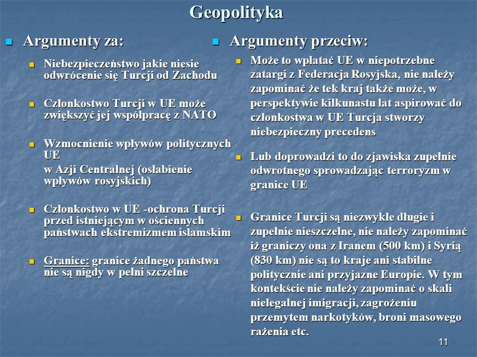 Geopolityka Argumenty za: Argumenty przeciw: