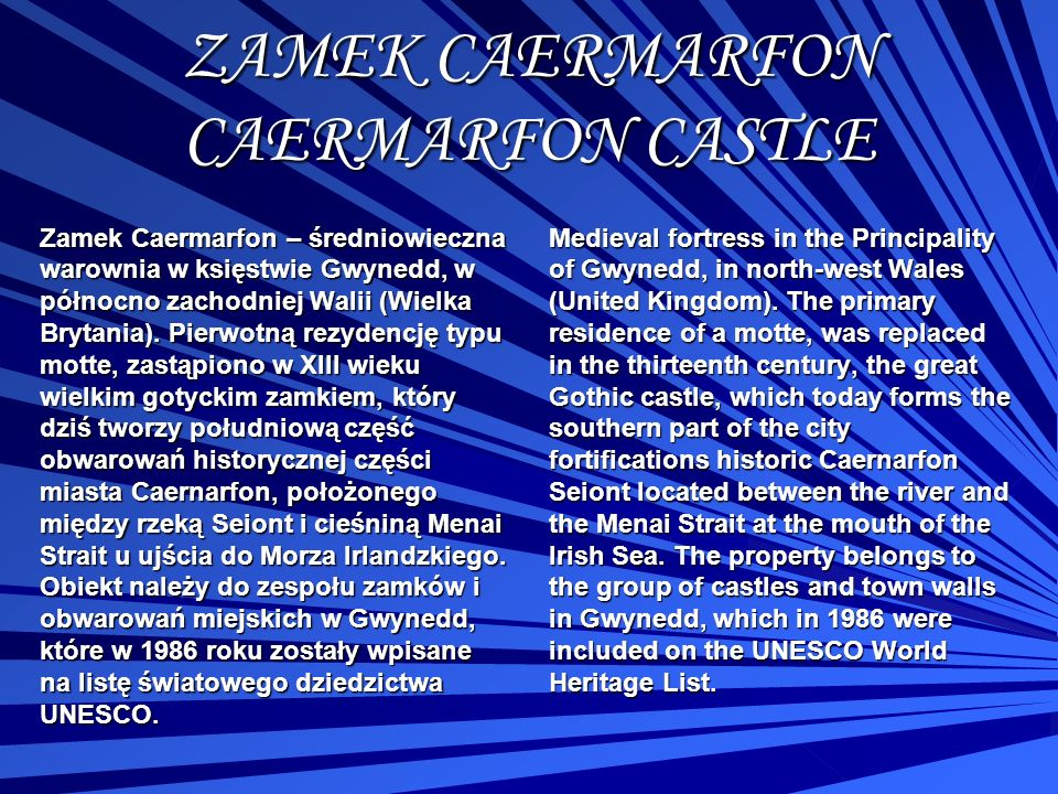 ZAMEK CAERMARFON CAERMARFON CASTLE