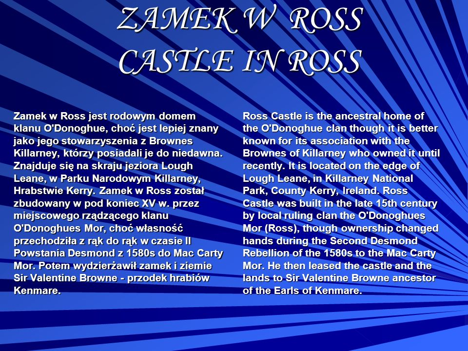 ZAMEK W ROSS CASTLE IN ROSS