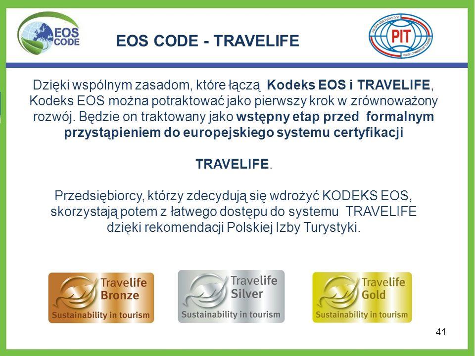 Dzięki wspólnym zasadom, które łączą Kodeks EOS i TRAVELIFE, Kodeks EOS można potraktować jako pierwszy krok w zrównoważony rozwój. Będzie on traktowany jako wstępny etap przed formalnym przystąpieniem do europejskiego systemu certyfikacji