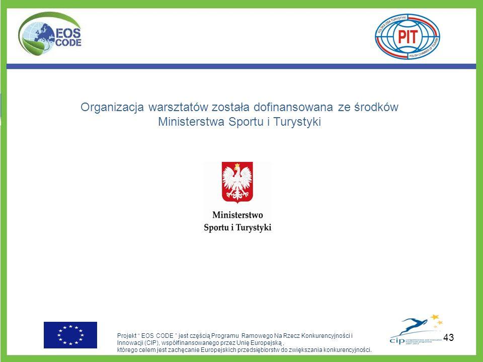 Organizacja warsztatów została dofinansowana ze środków Ministerstwa Sportu i Turystyki