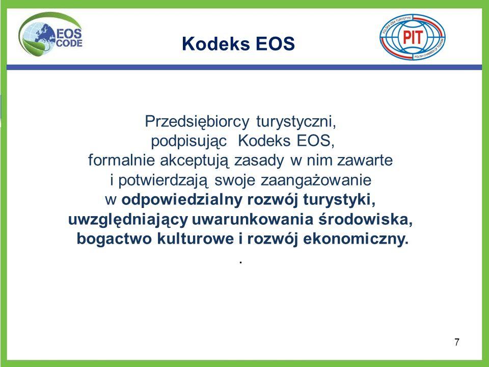 Kodeks EOS Przedsiębiorcy turystyczni, podpisując Kodeks EOS,
