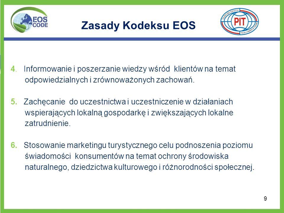 Zasady Kodeksu EOS 4. Informowanie i poszerzanie wiedzy wśród klientów na temat odpowiedzialnych i zrównoważonych zachowań.