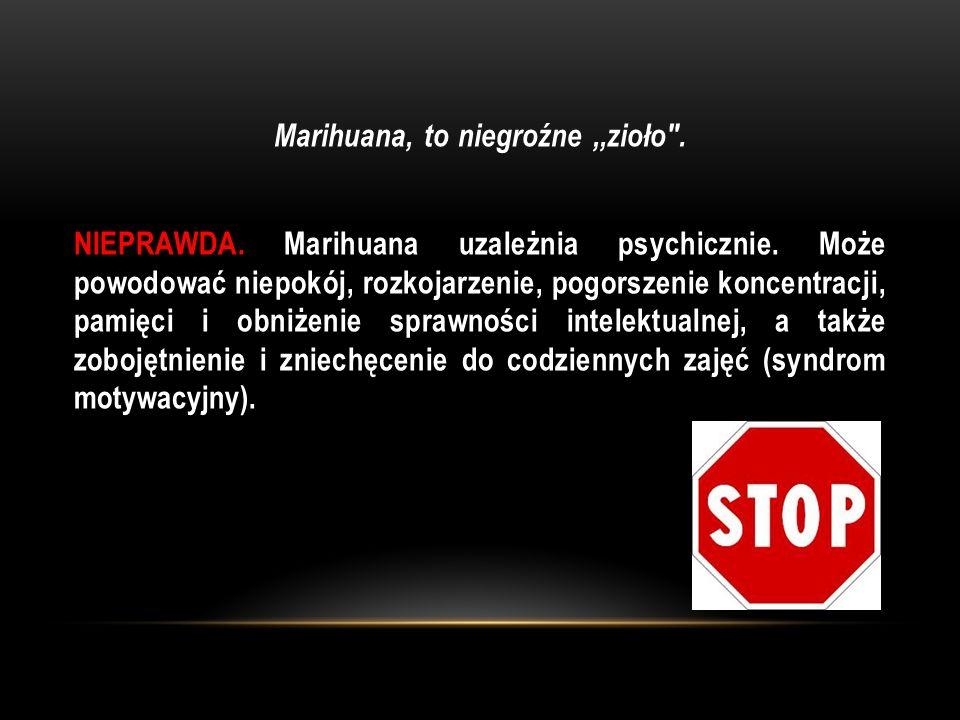 Marihuana, to niegroźne ,,zioło . NIEPRAWDA