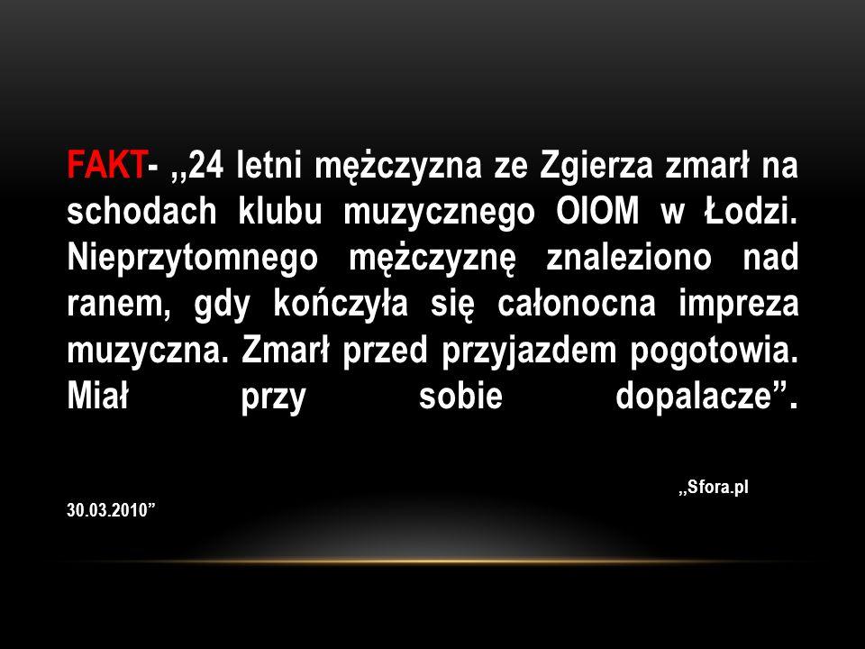 FAKT- ,,24 letni mężczyzna ze Zgierza zmarł na schodach klubu muzycznego OIOM w Łodzi. Nieprzytomnego mężczyznę znaleziono nad ranem, gdy kończyła się całonocna impreza muzyczna. Zmarł przed przyjazdem pogotowia. Miał przy sobie dopalacze .