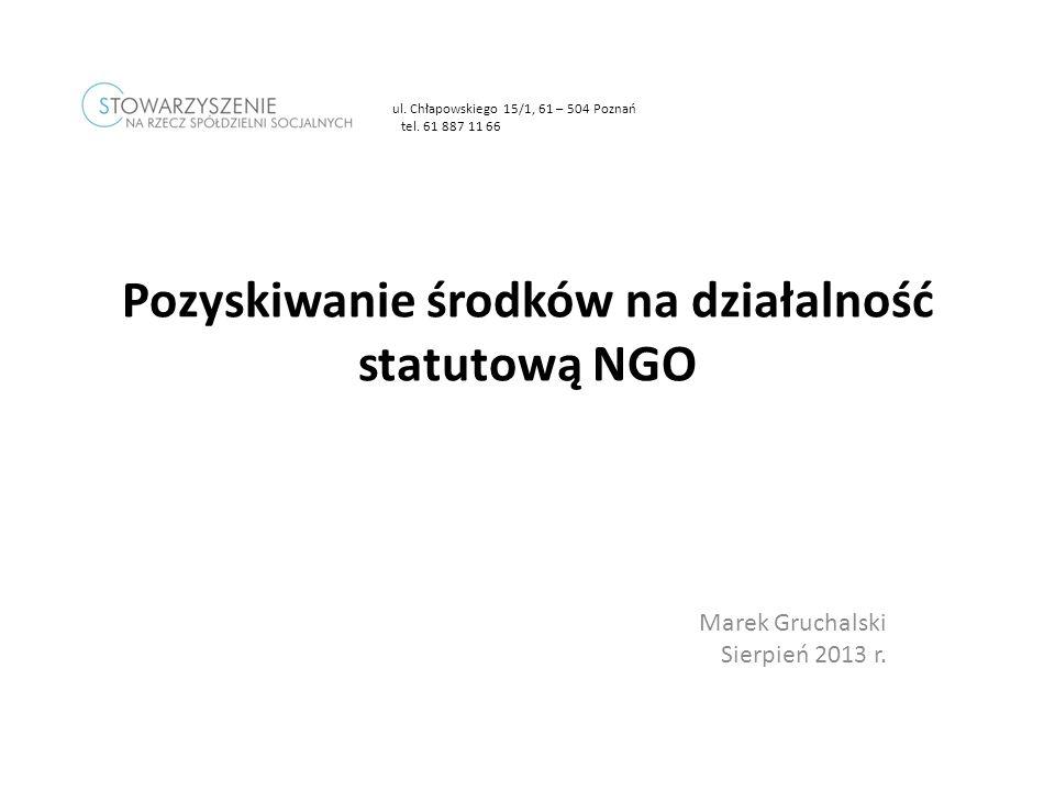 Pozyskiwanie środków na działalność statutową NGO
