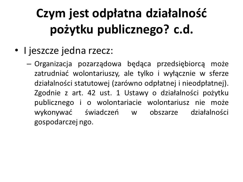 Czym jest odpłatna działalność pożytku publicznego c.d.