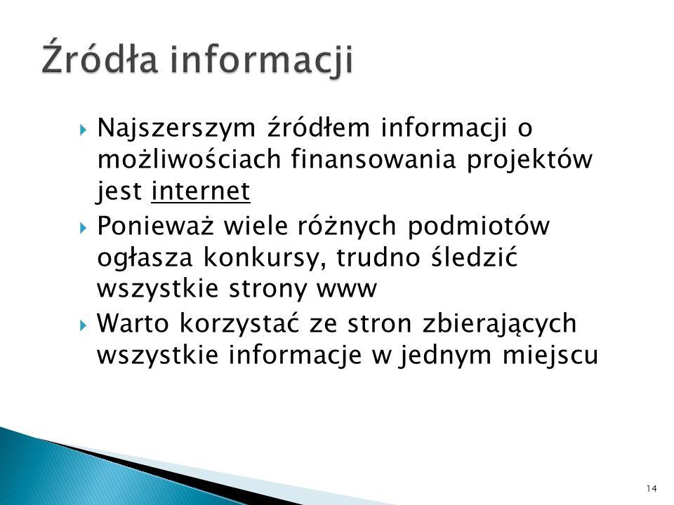 Źródła informacji Najszerszym źródłem informacji o możliwościach finansowania projektów jest internet.