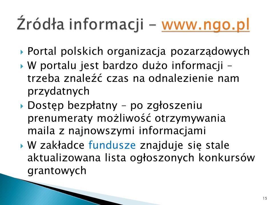 Źródła informacji - www.ngo.pl