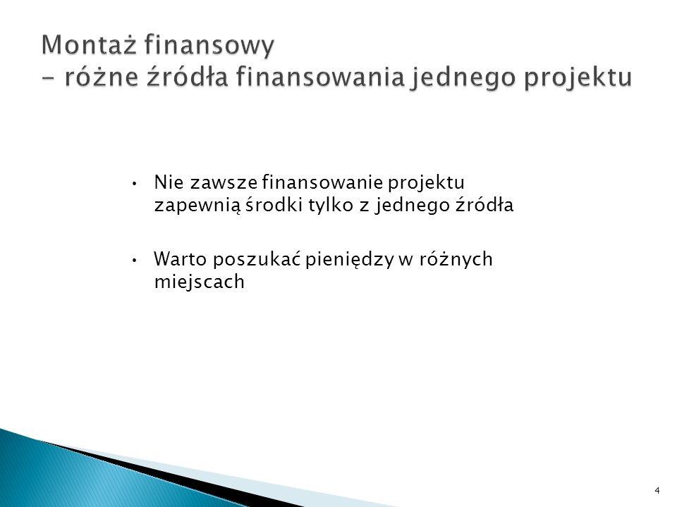 Montaż finansowy - różne źródła finansowania jednego projektu