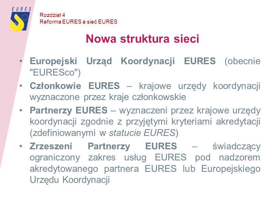 Rozdział 4 Reforma EURES a sieć EURES. Nowa struktura sieci. Europejski Urząd Koordynacji EURES (obecnie EURESco )