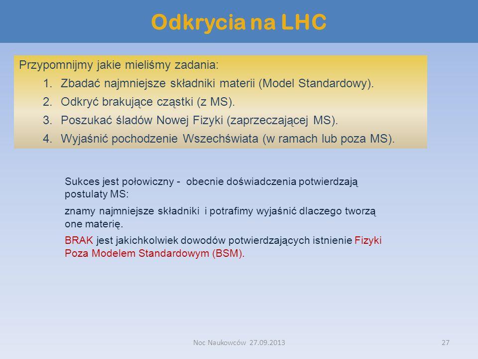 Odkrycia na LHC Przypomnijmy jakie mieliśmy zadania: