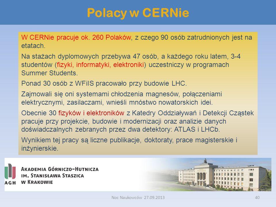 Polacy w CERNie W CERNie pracuje ok. 260 Polaków, z czego 90 osób zatrudnionych jest na etatach.