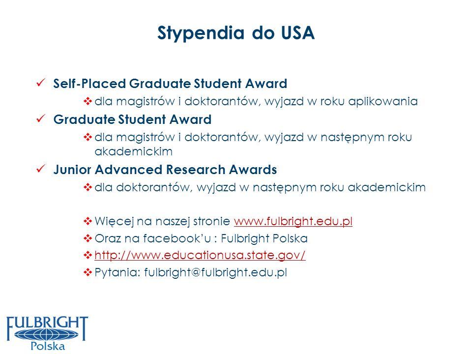 Stypendia do USA Self-Placed Graduate Student Award