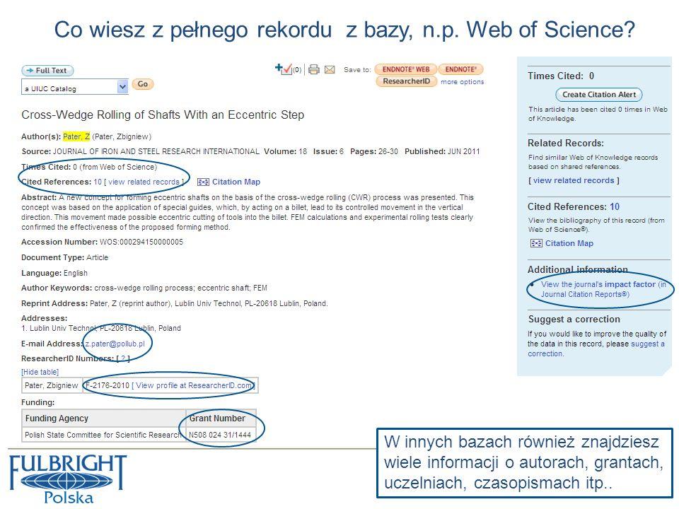 Co wiesz z pełnego rekordu z bazy, n.p. Web of Science
